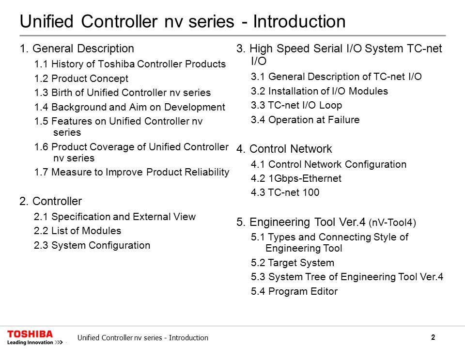 13Unified Controller nv series - Introduction Process Computer Single Loop Controller Industrial Computer PLC System scale Large scale Medium scale Small scale DCS S: Sequence Control L: Loop Control C:Computer Control Usage V series 1.6 Product Coverage of Unified Controller nv series Unified Controller nv series The area of a computer control and a small-scale system will be achieved by means of the model expansion in the future.