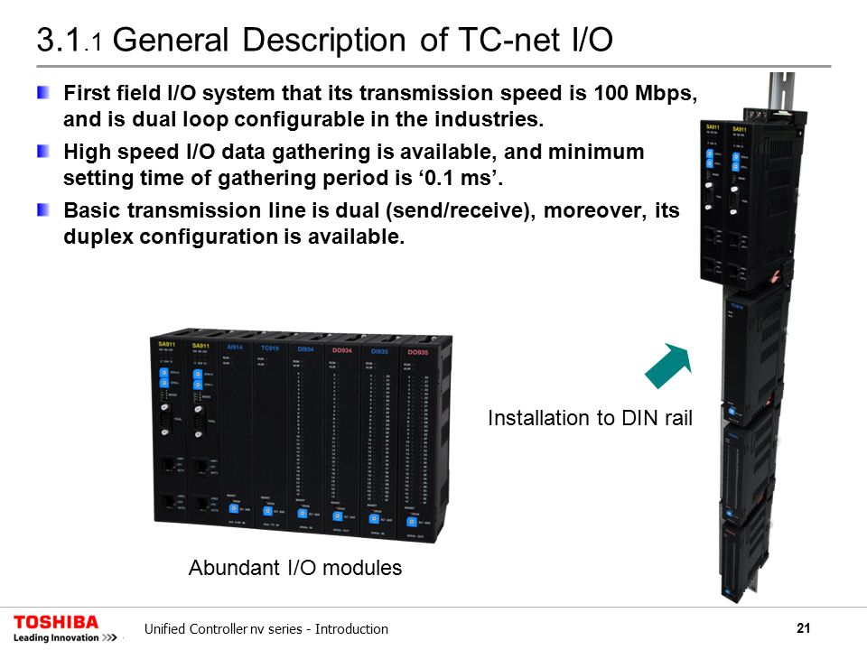 21Unified Controller nv series - Introduction 3.1.1 General Description of TC-net I/O First field I/O system that its transmission speed is 100 Mbps, and is dual loop configurable in the industries.