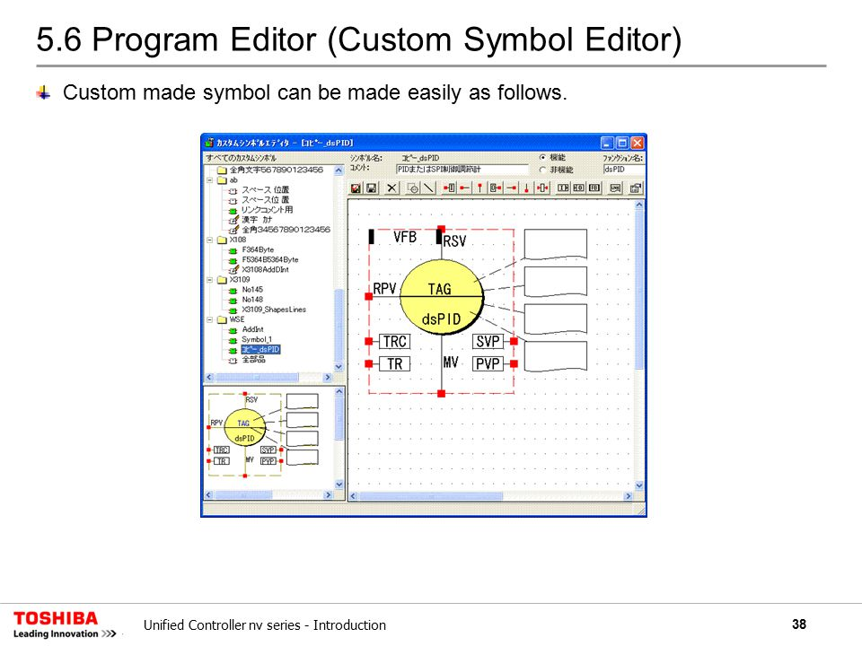38Unified Controller nv series - Introduction 5.6 Program Editor (Custom Symbol Editor) Custom made symbol can be made easily as follows.