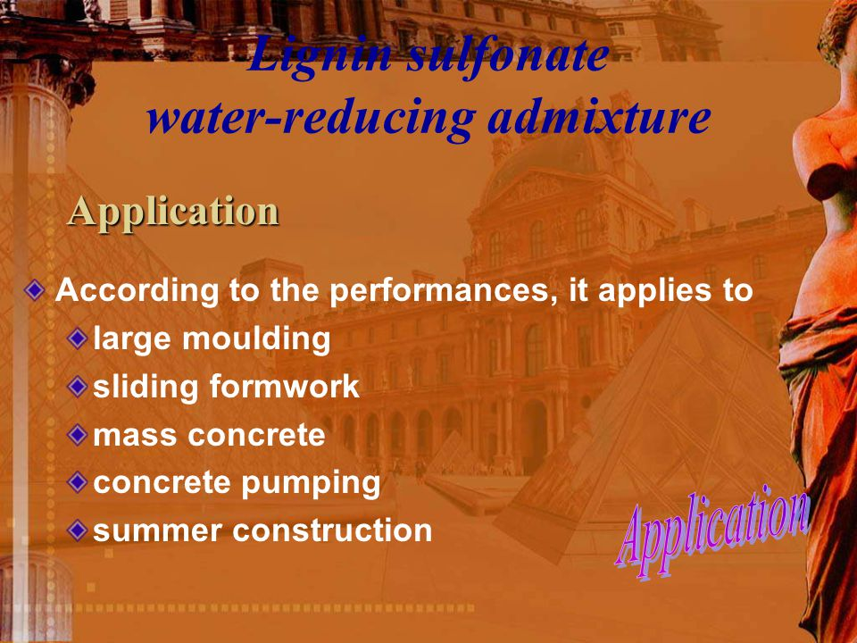 Lignin sulfonate water-reducing admixture According to the performances, it applies to large moulding sliding formwork mass concrete concrete pumping