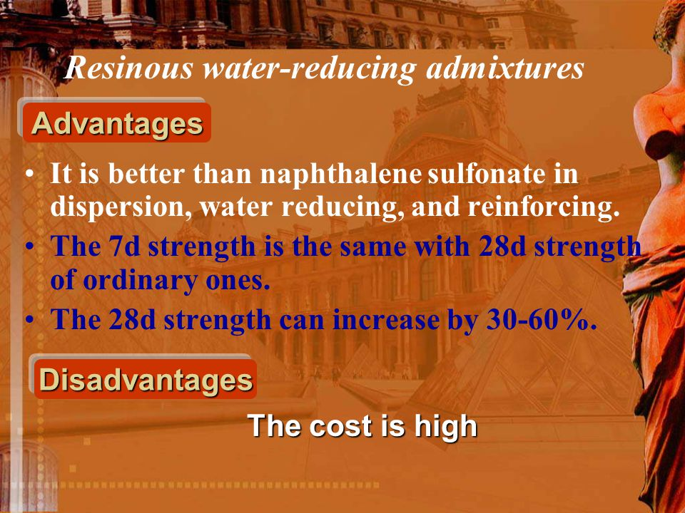 It is better than naphthalene sulfonate in dispersion, water reducing, and reinforcing. The 7d strength is the same with 28d strength of ordinary ones