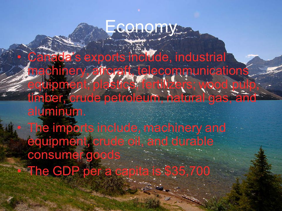 Economy Canada's exports include, industrial machinery, aircraft, telecommunications equipment, plastics, fertilizers; wood pulp, timber, crude petroleum, natural gas, and aluminum.