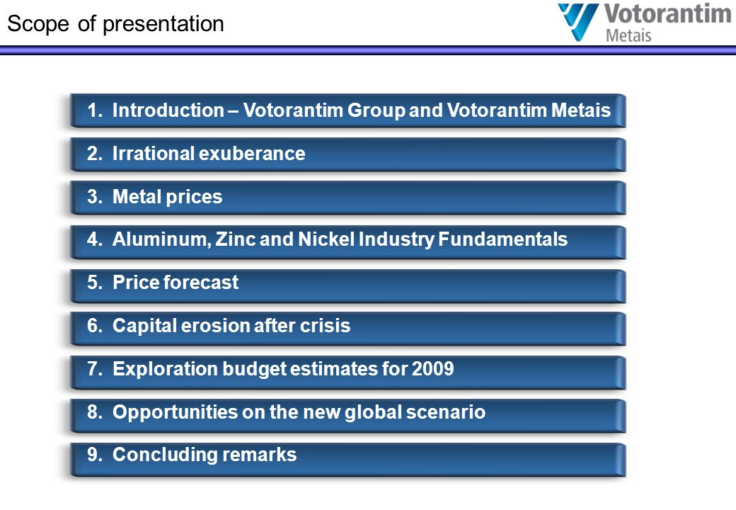 Scope of presentation 1.Introduction – Votorantim Group and Votorantim Metais 2.Irrational exuberance 3.Metal prices 4.Aluminum, Zinc and Nickel Industry Fundamentals 5.Price forecast 6.Capital erosion after crisis 7.Exploration budget estimates for 2009 8.Opportunities on the new global scenario 9.Concluding remarks