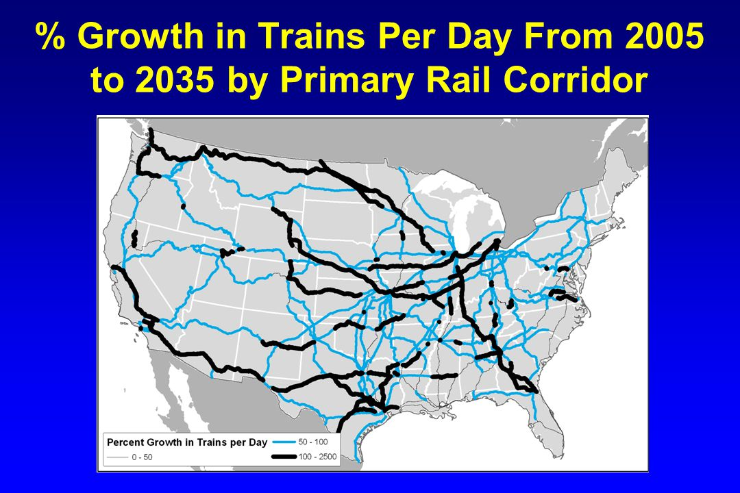 % Growth in Trains Per Day From 2005 to 2035 by Primary Rail Corridor