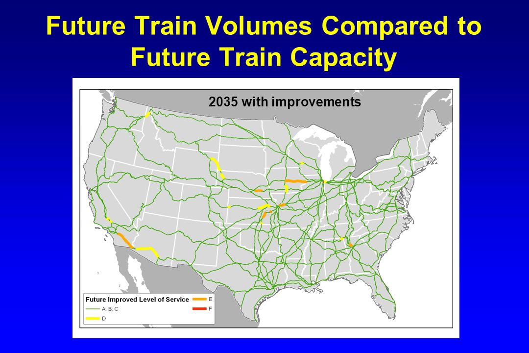 Future Train Volumes Compared to Future Train Capacity 2035 with improvements