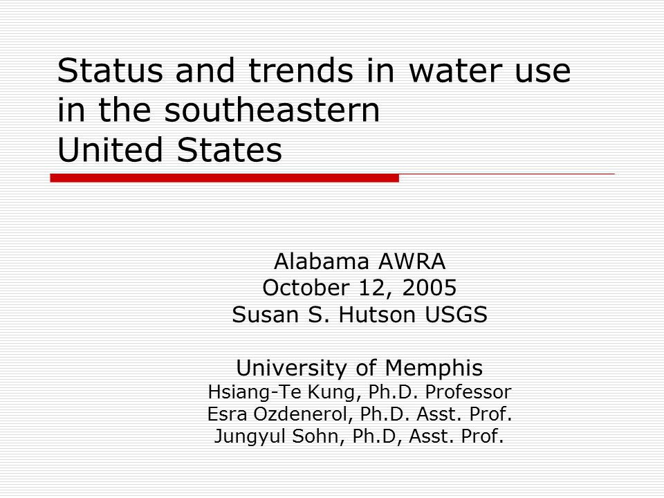 Status and trends in water use in the southeastern United States Alabama AWRA October 12, 2005 Susan S.