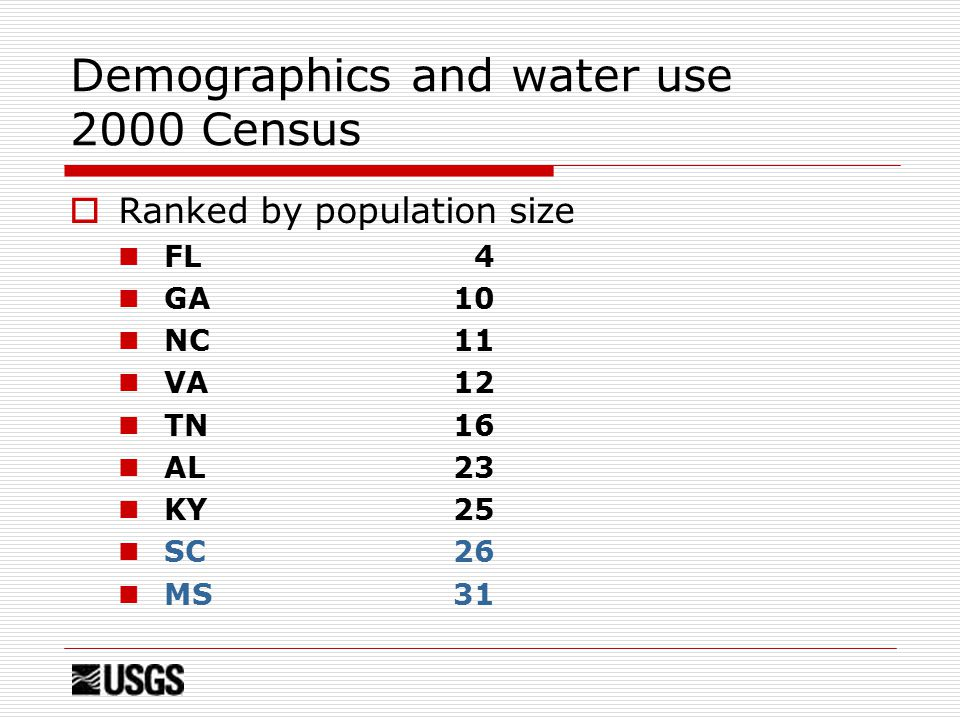 Demographics and water use 2000 Census  Ranked by population size FL 4 GA10 NC11 VA12 TN16 AL23 KY25 SC 26 MS31