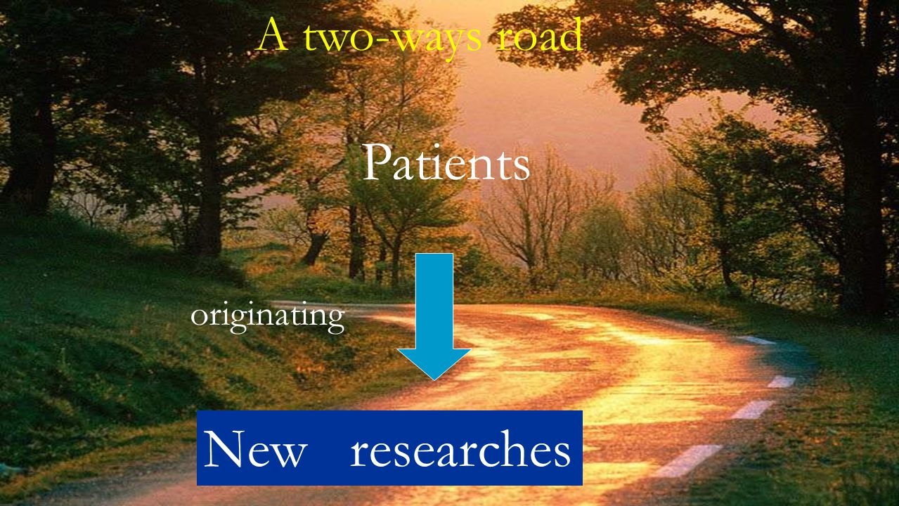 A two-ways road Patients New researches originating