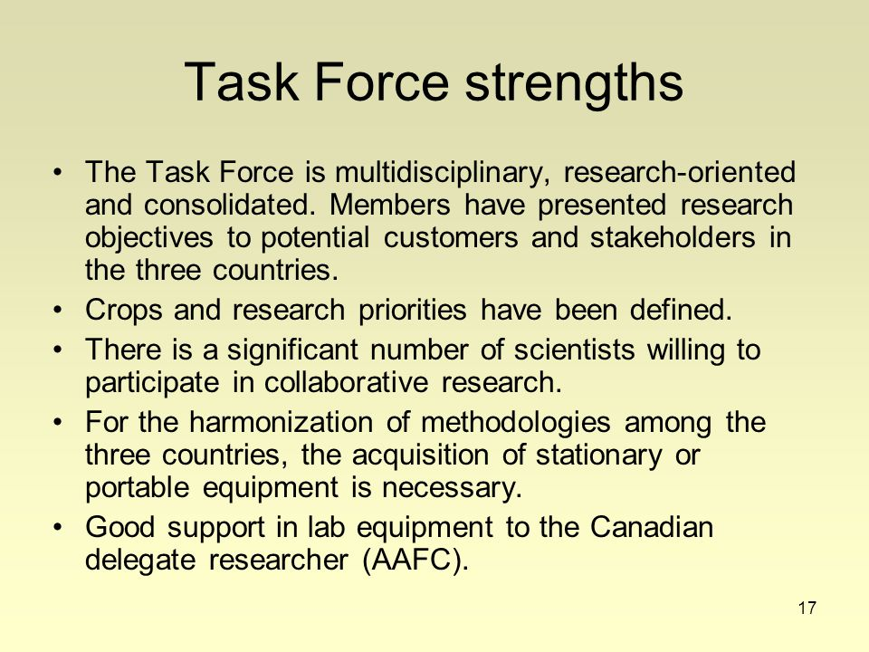 17 Task Force strengths The Task Force is multidisciplinary, research-oriented and consolidated.