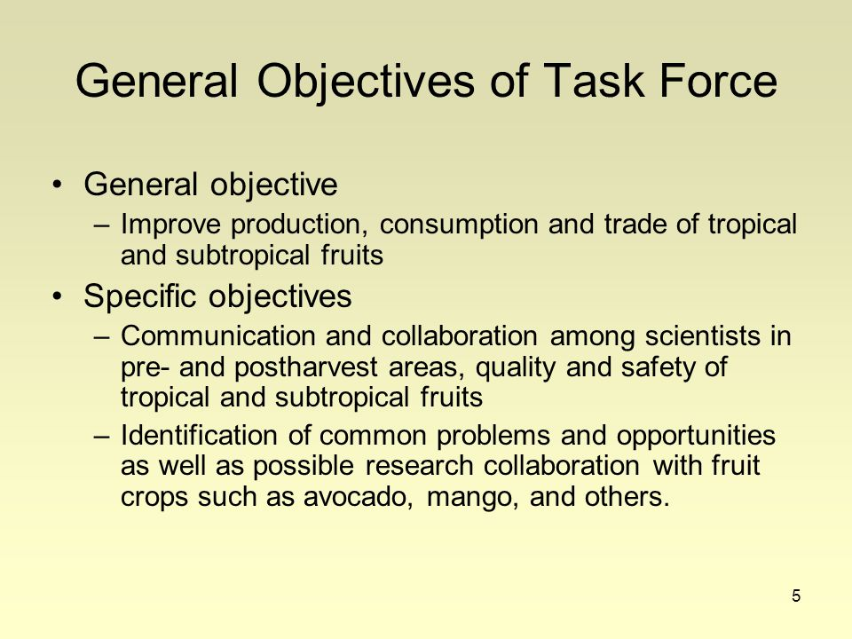 5 General Objectives of Task Force General objective –Improve production, consumption and trade of tropical and subtropical fruits Specific objectives –Communication and collaboration among scientists in pre- and postharvest areas, quality and safety of tropical and subtropical fruits –Identification of common problems and opportunities as well as possible research collaboration with fruit crops such as avocado, mango, and others.