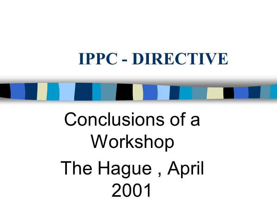 IPPC - DIRECTIVE Conclusions of a Workshop The Hague, April 2001