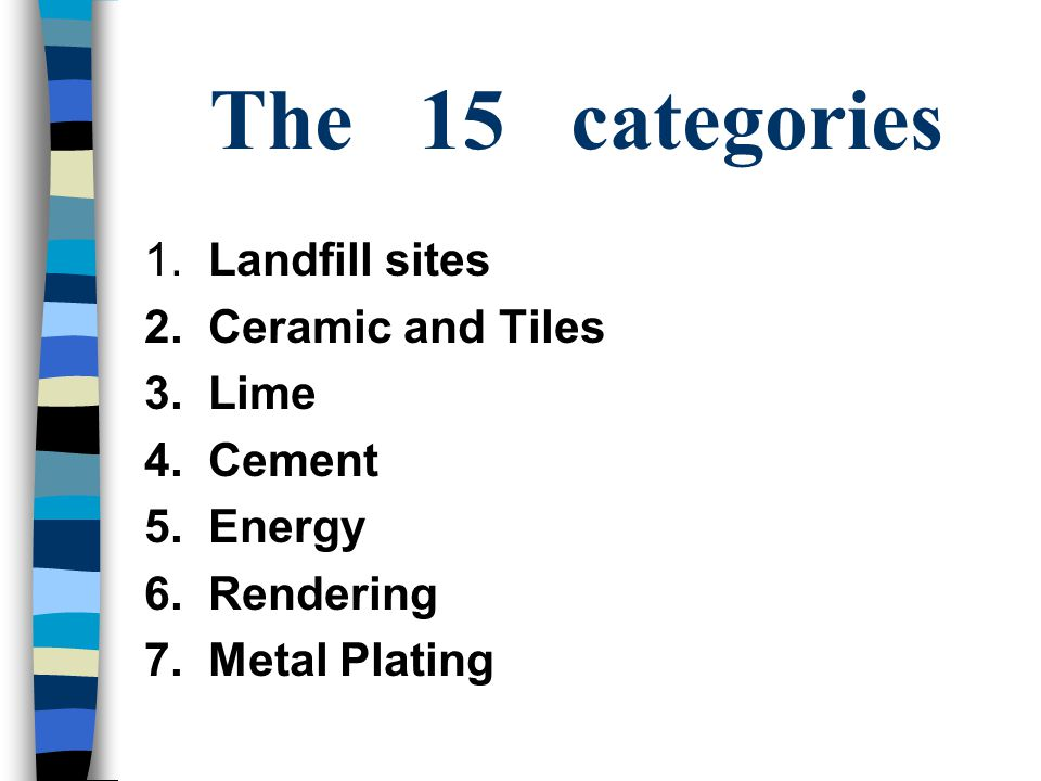 The 15 categories 1. Landfill sites 2. Ceramic and Tiles 3.
