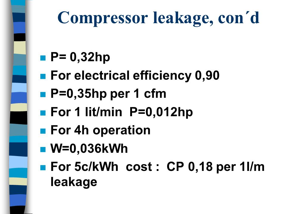Compressor leakage, con´d n P= 0,32hp n For electrical efficiency 0,90 n P=0,35hp per 1 cfm n For 1 lit/min P=0,012hp n For 4h operation n W=0,036kWh n For 5c/kWh cost : CP 0,18 per 1l/m leakage