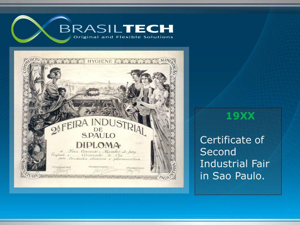 19XX Certificate of Second Industrial Fair in Sao Paulo.