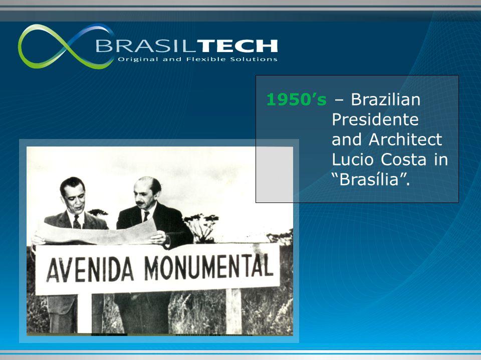 """1950's – Brazilian Presidente and Architect Lucio Costa in """"Brasília""""."""