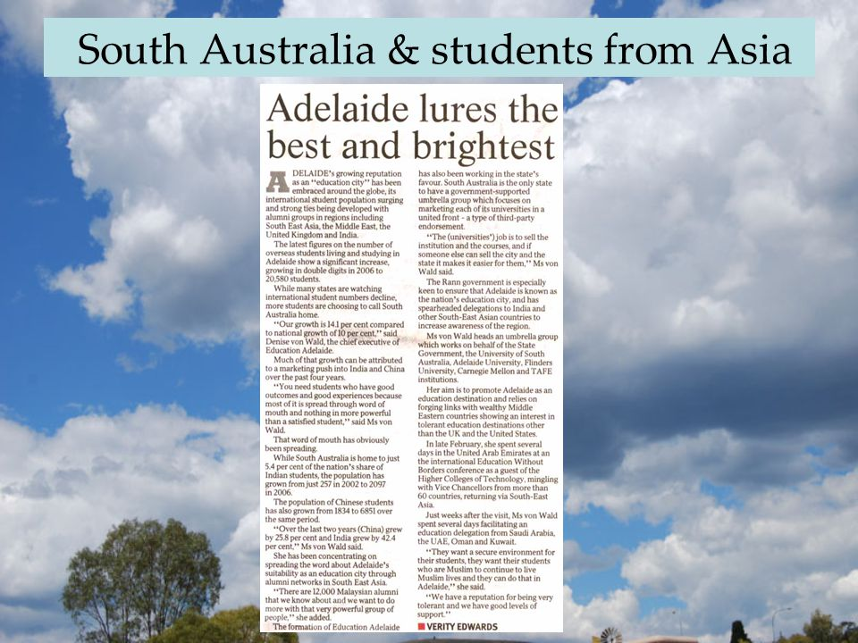 South Australia & students from Asia