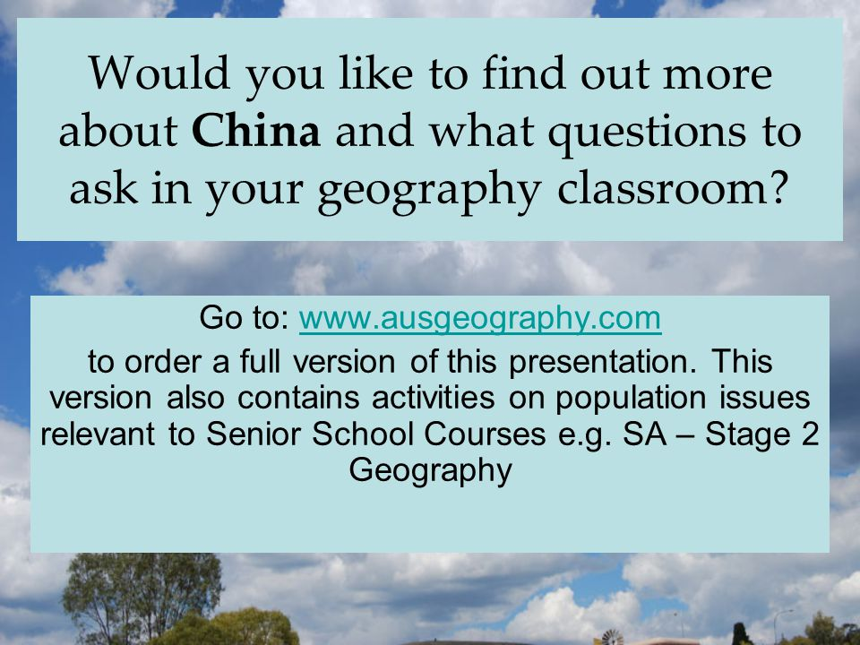 Would you like to find out more about China and what questions to ask in your geography classroom.
