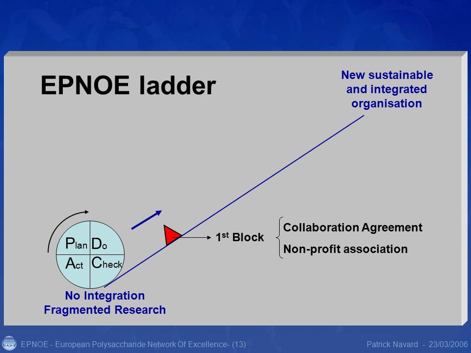 EPNOE - European Polysaccharide Network Of Excellence23/03/2006Patrick Navard -- (13) Collaboration Agreement Non-profit association 1 st Block New sustainable and integrated organisation No Integration Fragmented Research P lan DoDo C heck A ct EPNOE ladder
