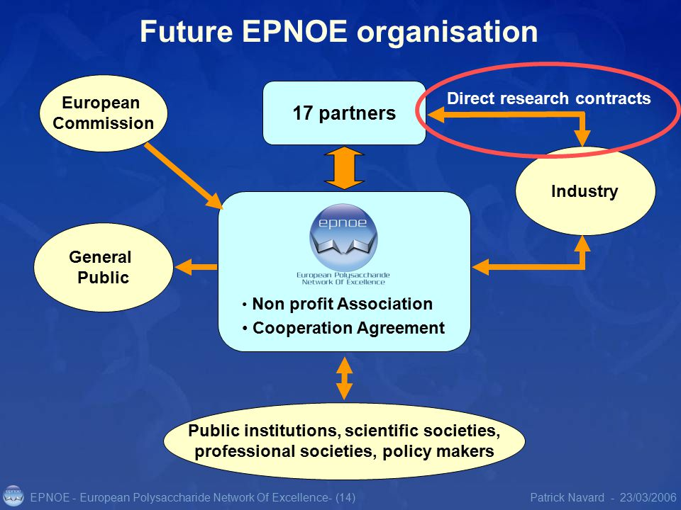 EPNOE - European Polysaccharide Network Of Excellence23/03/2006Patrick Navard -- (14) Future EPNOE organisation Public institutions, scientific societies, professional societies, policy makers Industry General Public 17 partners Direct research contracts Non profit Association Cooperation Agreement European Commission
