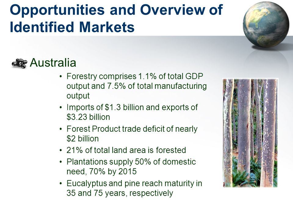 Opportunities and Overview of Identified Markets Australia Forestry comprises 1.1% of total GDP output and 7.5% of total manufacturing output Imports