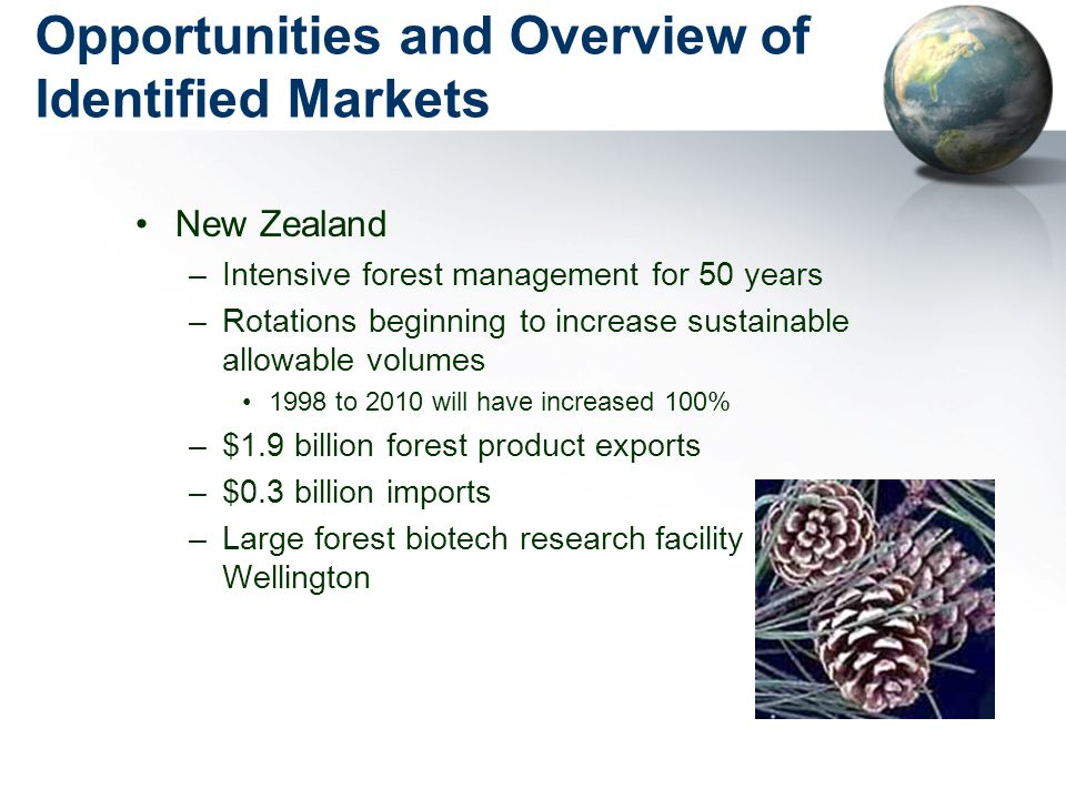 Opportunities and Overview of Identified Markets New Zealand –Intensive forest management for 50 years –Rotations beginning to increase sustainable allowable volumes 1998 to 2010 will have increased 100% –$1.9 billion forest product exports –$0.3 billion imports –Large forest biotech research facility in Wellington