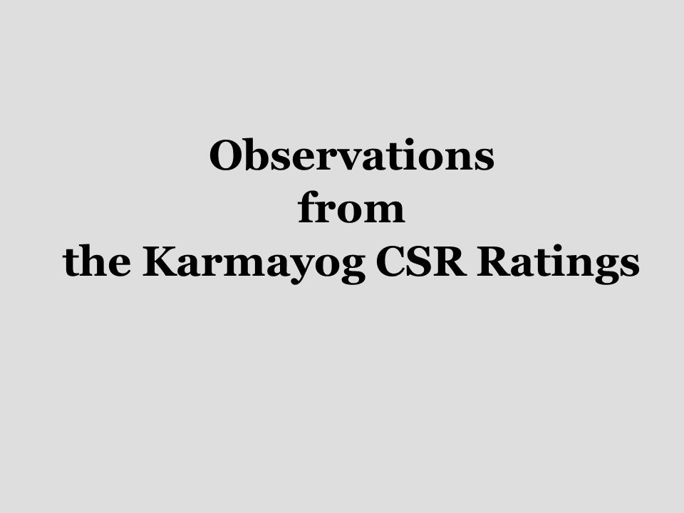 Observations from the Karmayog CSR Ratings