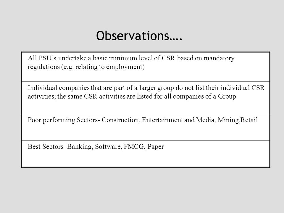 Observations…. All PSU's undertake a basic minimum level of CSR based on mandatory regulations (e.g. relating to employment) Individual companies that