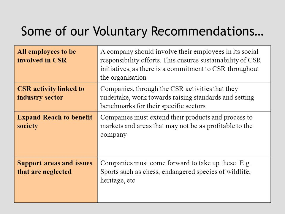 Some of our Voluntary Recommendations… All employees to be involved in CSR A company should involve their employees in its social responsibility efforts.