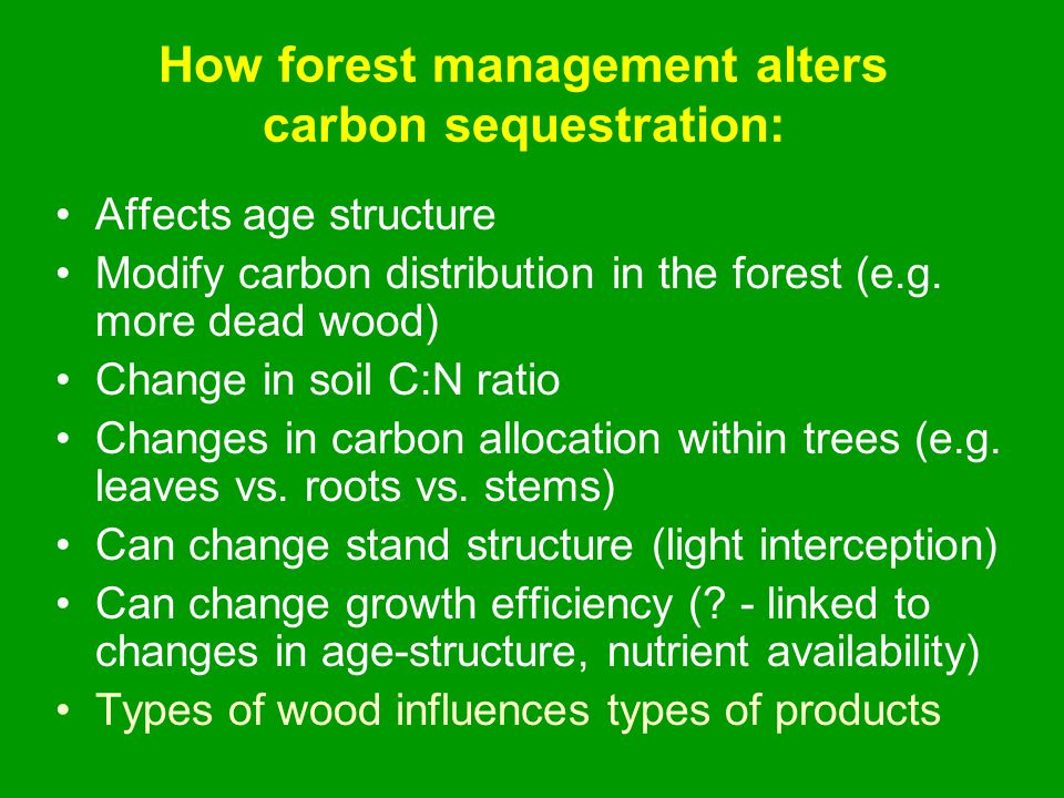 How forest management alters carbon sequestration: Affects age structure Modify carbon distribution in the forest (e.g.