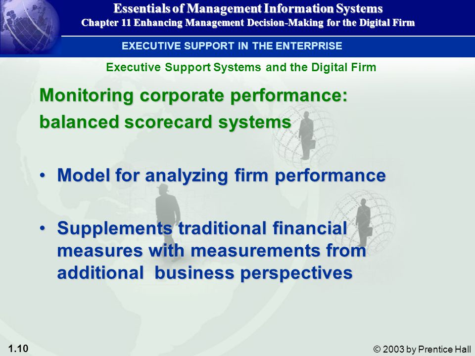 1.10 © 2003 by Prentice Hall Monitoring corporate performance: balanced scorecard systems Model for analyzing firm performanceModel for analyzing firm