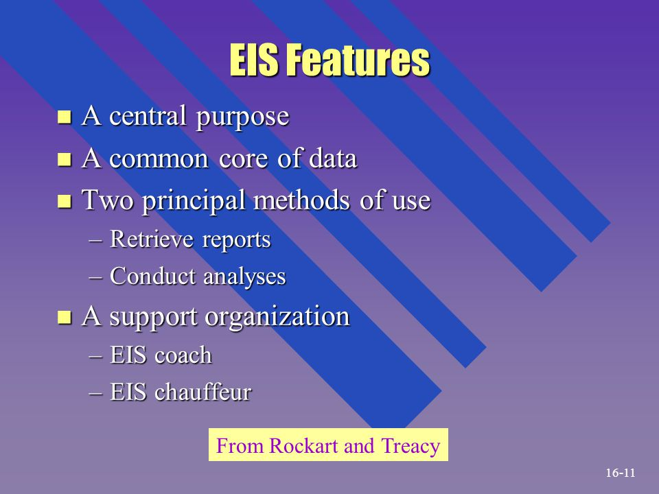 EIS Features n A central purpose n A common core of data n Two principal methods of use –Retrieve reports –Conduct analyses n A support organization –
