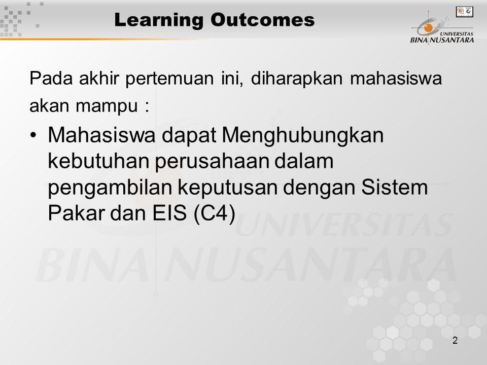 2 Learning Outcomes Pada akhir pertemuan ini, diharapkan mahasiswa akan mampu : Mahasiswa dapat Menghubungkan kebutuhan perusahaan dalam pengambilan keputusan dengan Sistem Pakar dan EIS (C4)