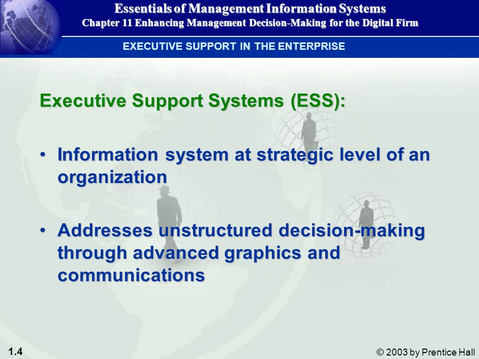 1.4 © 2003 by Prentice Hall Executive Support Systems (ESS): Information system at strategic level of an organizationInformation system at strategic l