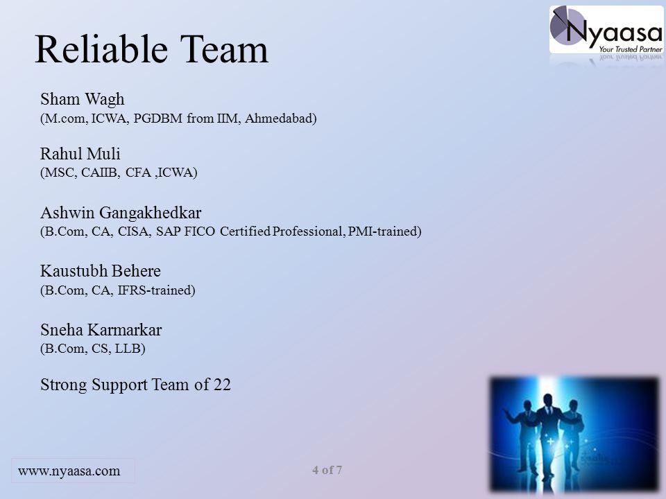 Reliable Team Sham Wagh (M.com, ICWA, PGDBM from IIM, Ahmedabad) Rahul Muli (MSC, CAIIB, CFA,ICWA) Ashwin Gangakhedkar (B.Com, CA, CISA, SAP FICO Certified Professional, PMI-trained) Kaustubh Behere (B.Com, CA, IFRS-trained) Sneha Karmarkar (B.Com, CS, LLB) Strong Support Team of 22 4 of 7 www.nyaasa.com