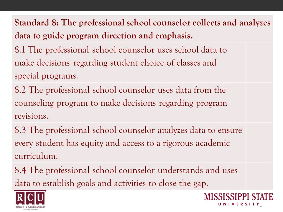 Standard 8: The professional school counselor collects and analyzes data to guide program direction and emphasis. 8.1 The professional school counselo