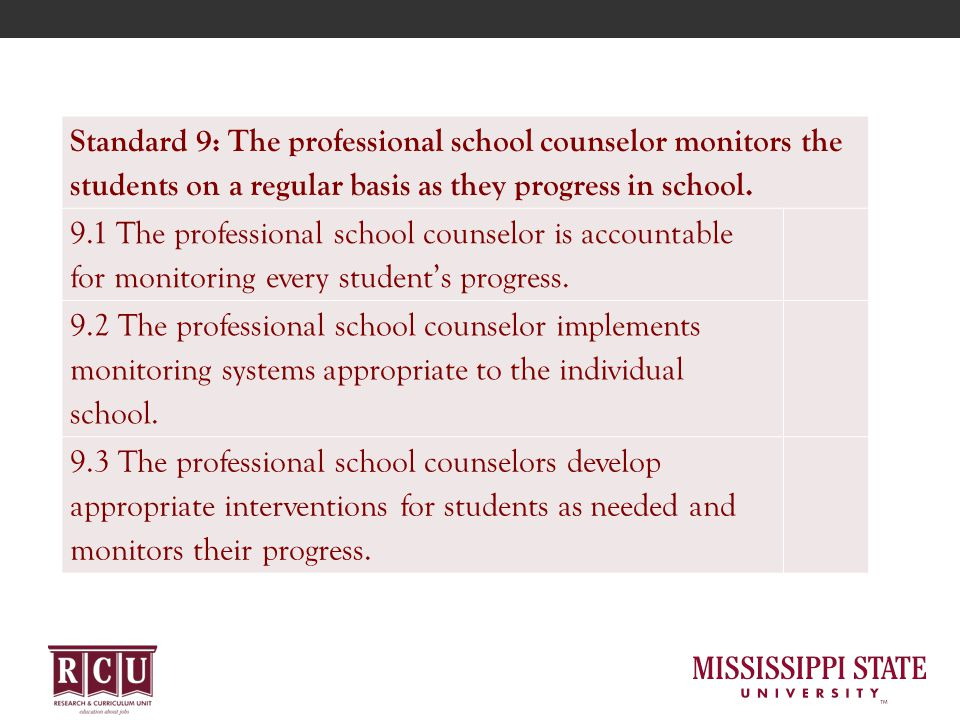 Standard 9: The professional school counselor monitors the students on a regular basis as they progress in school.