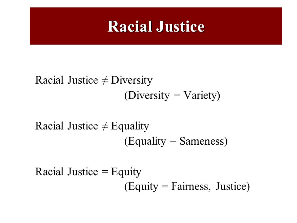 Racial Justice: Related Values and Key Ideas Equity / Equitable Outcomes Inclusion / Accessibility Equal Opportunity Dignity / Human Rights Fairness / Fair Treatment Shared Power and Resources