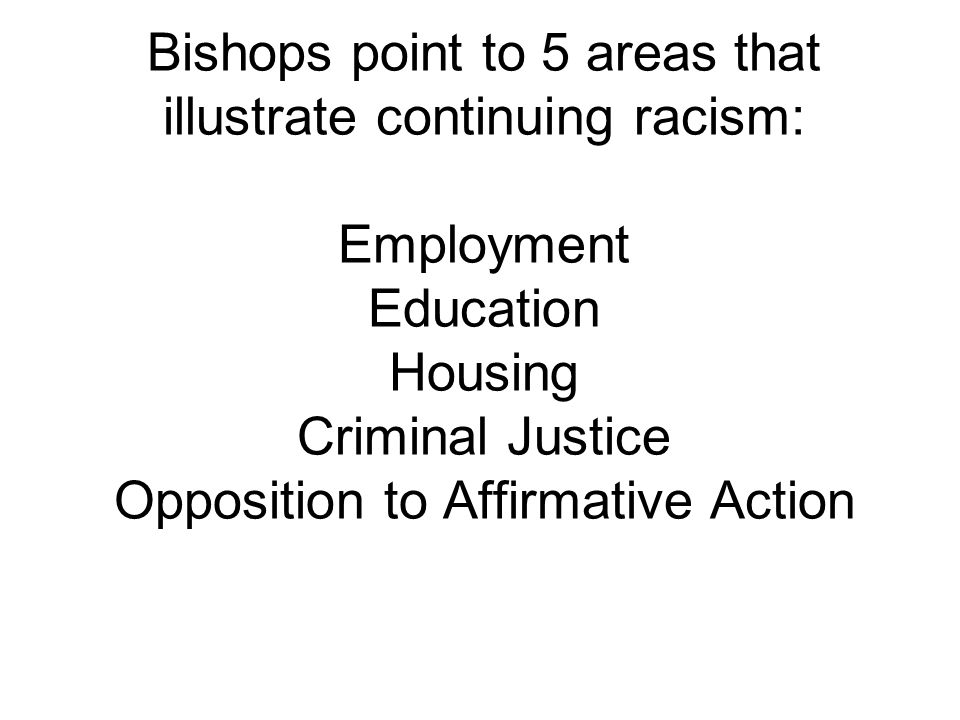 Bishops point to 5 areas that illustrate continuing racism: Employment Education Housing Criminal Justice Opposition to Affirmative Action
