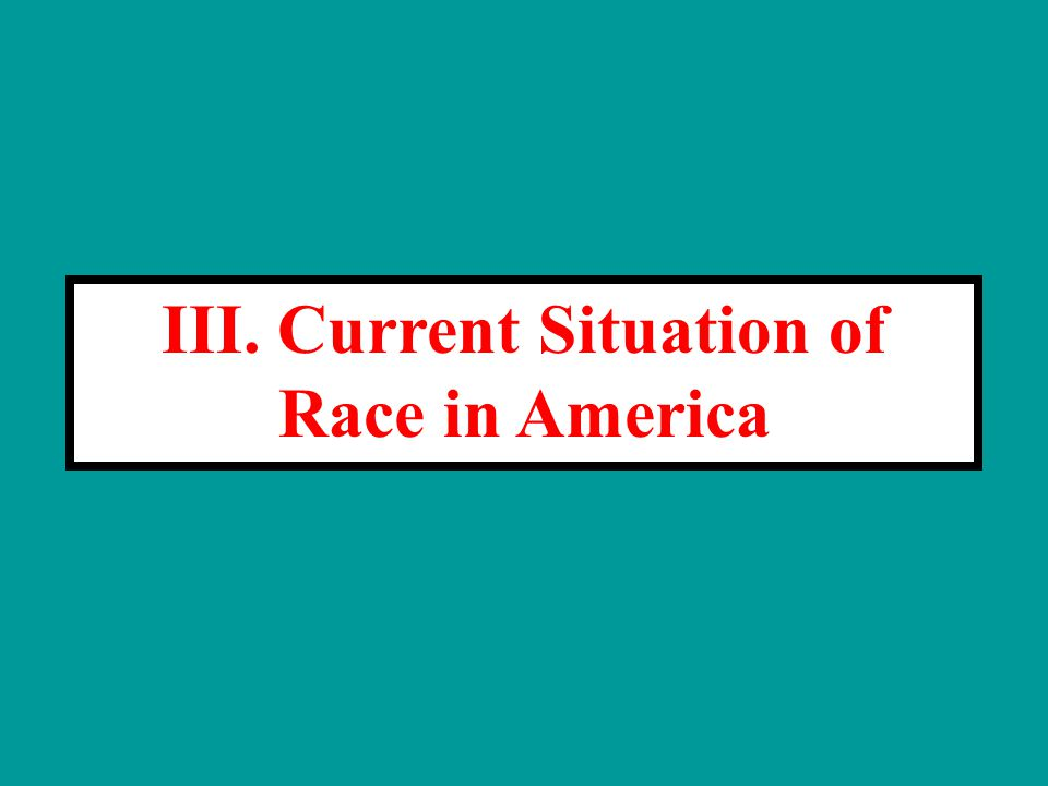 III. Current Situation of Race in America