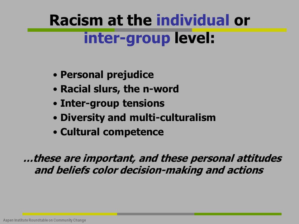 Aspen Institute Roundtable on Community Change Racism at the individual or inter-group level: Personal prejudice Racial slurs, the n-word Inter-group