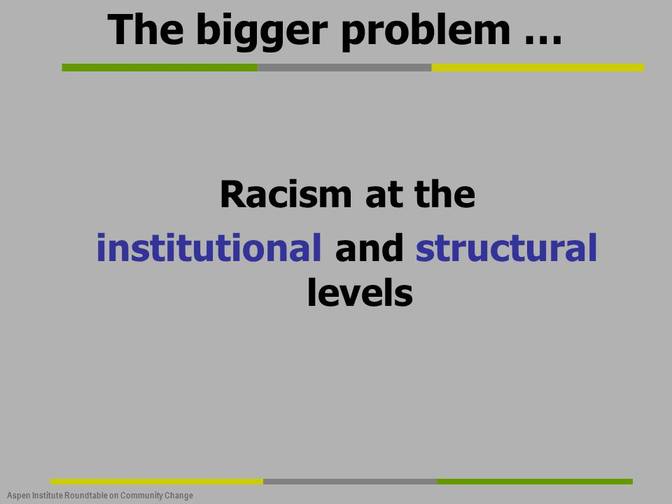 Aspen Institute Roundtable on Community Change The bigger problem … Racism at the institutional and structural levels
