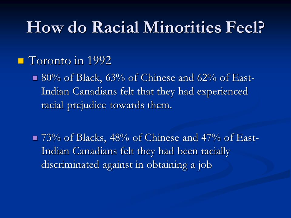 How do Racial Minorities Feel? Toronto in 1992 Toronto in 1992 80% of Black, 63% of Chinese and 62% of East- Indian Canadians felt that they had exper