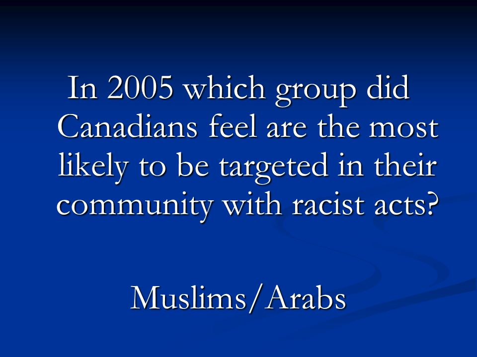 In 2005 which group did Canadians feel are the most likely to be targeted in their community with racist acts? Muslims/Arabs