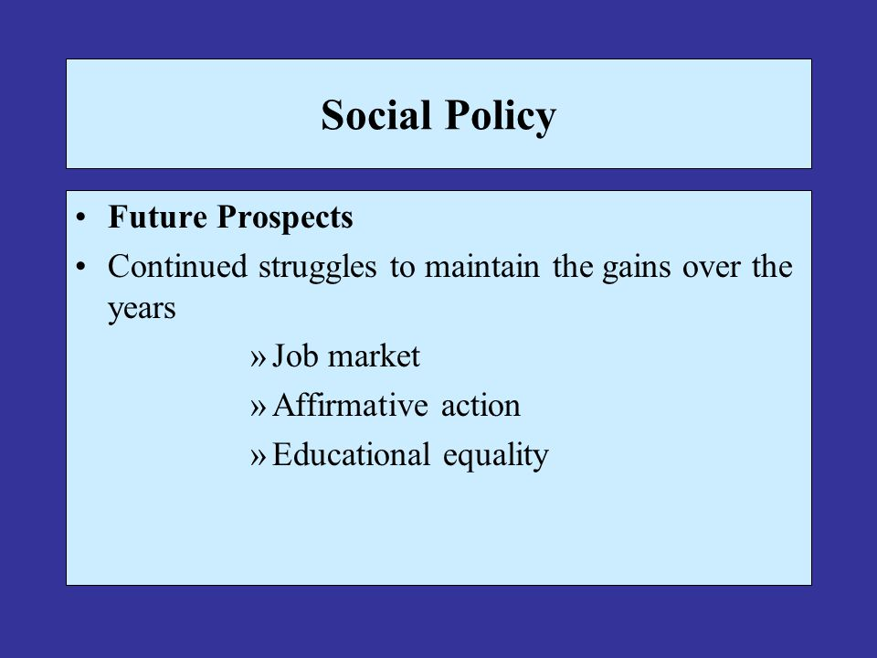Social Policy Future Prospects Continued struggles to maintain the gains over the years »Job market »Affirmative action »Educational equality