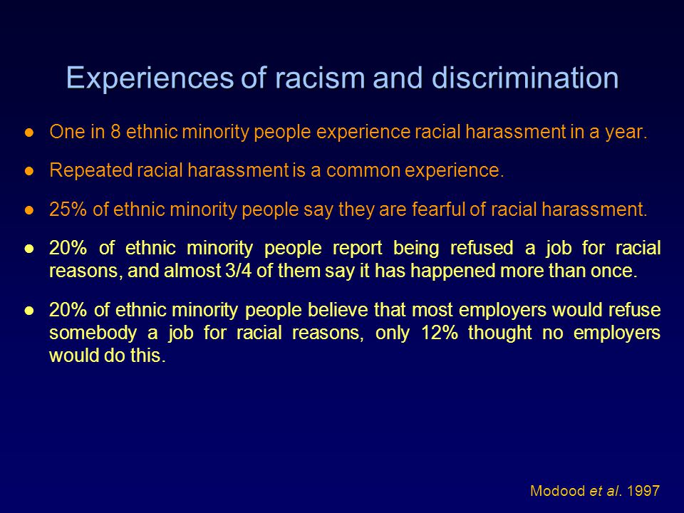 Experiences of racism and discrimination One in 8 ethnic minority people experience racial harassment in a year.