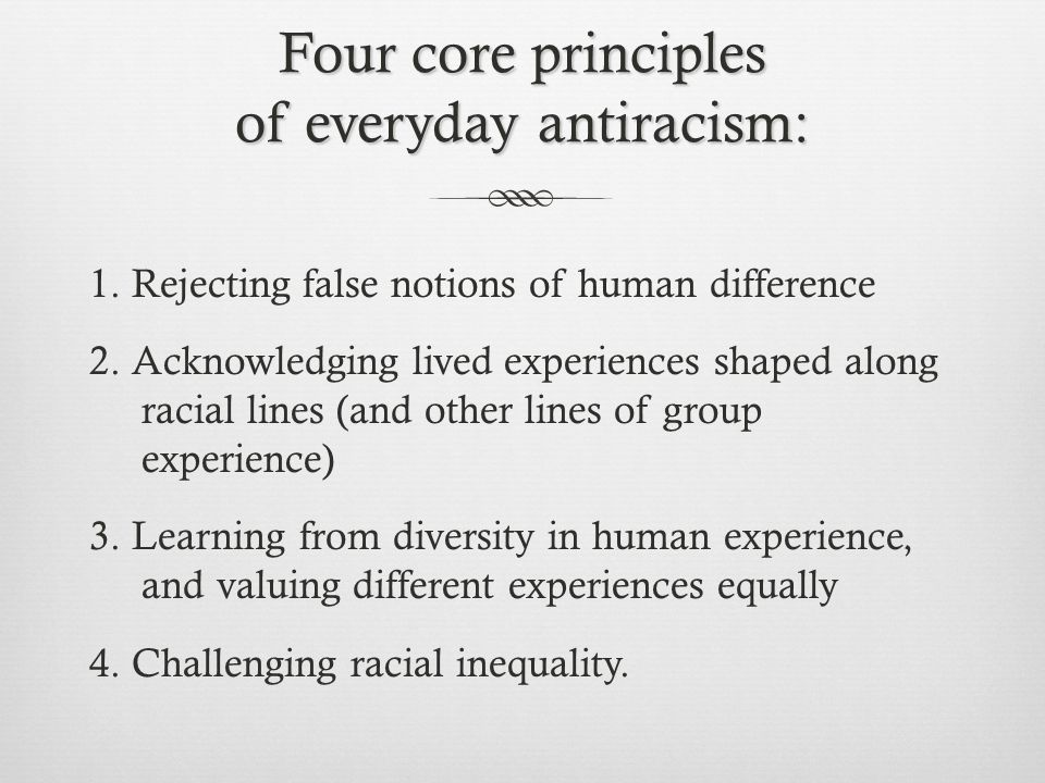 Four core principles of everyday antiracism: 1. Rejecting false notions of human difference 2.