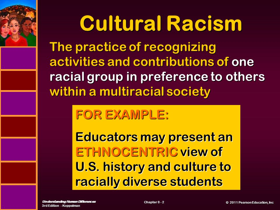 © 2011 Pearson Education, Inc © 2011 Pearson Education, Inc Understanding Human Differences 3rd Edition - Koppelman Chapter 8 - 2 Cultural Racism The practice of recognizing activities and contributions of one racial group in preference to others within a multiracial society FOR EXAMPLE: Educators may present an ETHNOCENTRIC view of U.S.