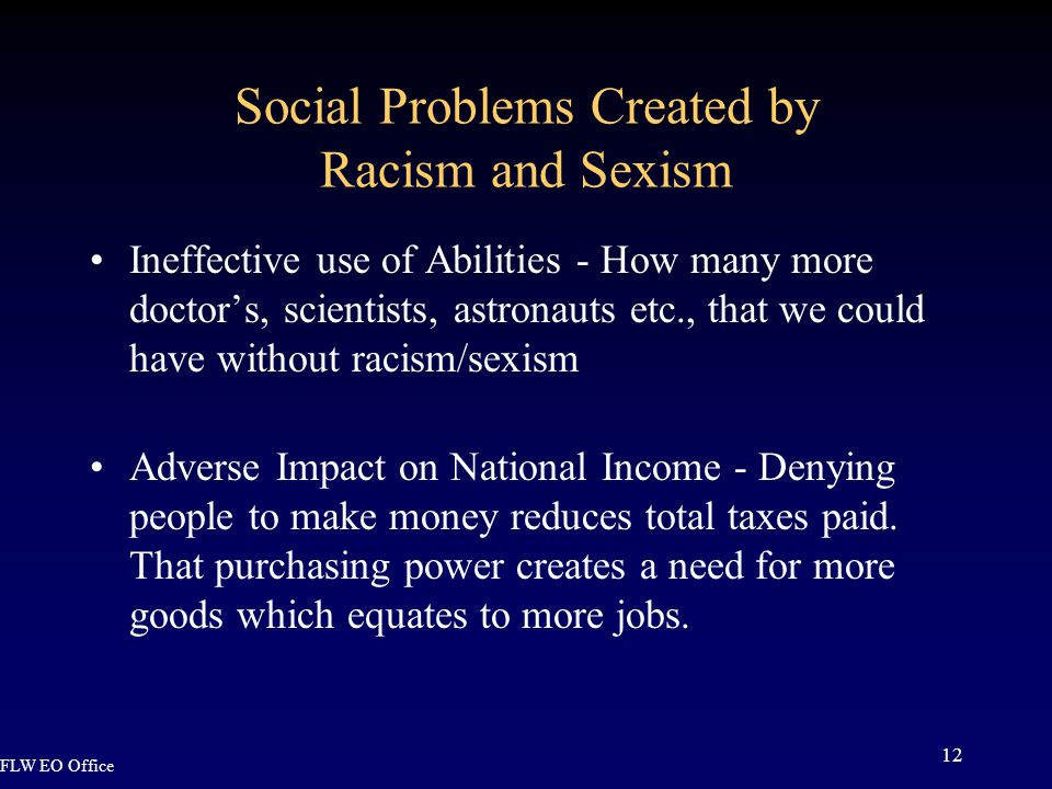 FLW EO Office 12 Social Problems Created by Racism and Sexism Ineffective use of Abilities - How many more doctor's, scientists, astronauts etc., that we could have without racism/sexism Adverse Impact on National Income - Denying people to make money reduces total taxes paid.