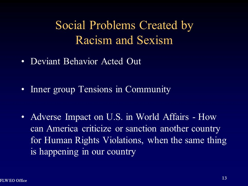 FLW EO Office 13 Social Problems Created by Racism and Sexism Deviant Behavior Acted Out Inner group Tensions in Community Adverse Impact on U.S.