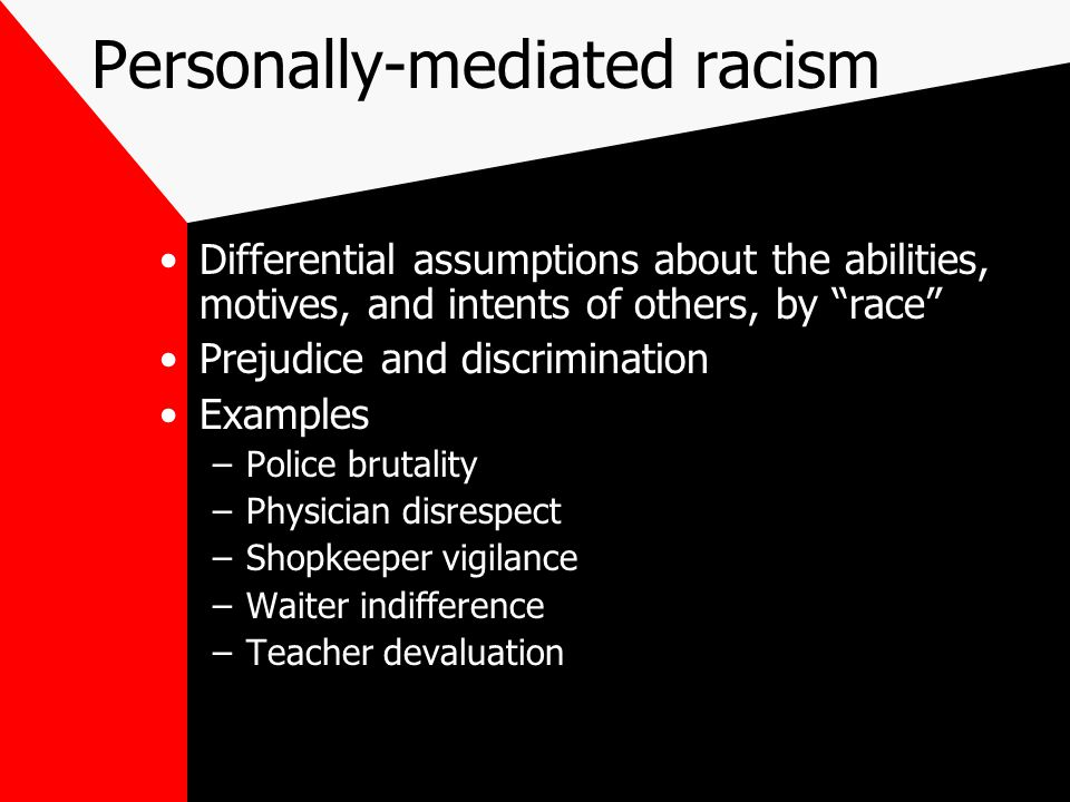 Personally-mediated racism Differential assumptions about the abilities, motives, and intents of others, by race Prejudice and discrimination Examples –Police brutality –Physician disrespect –Shopkeeper vigilance –Waiter indifference –Teacher devaluation